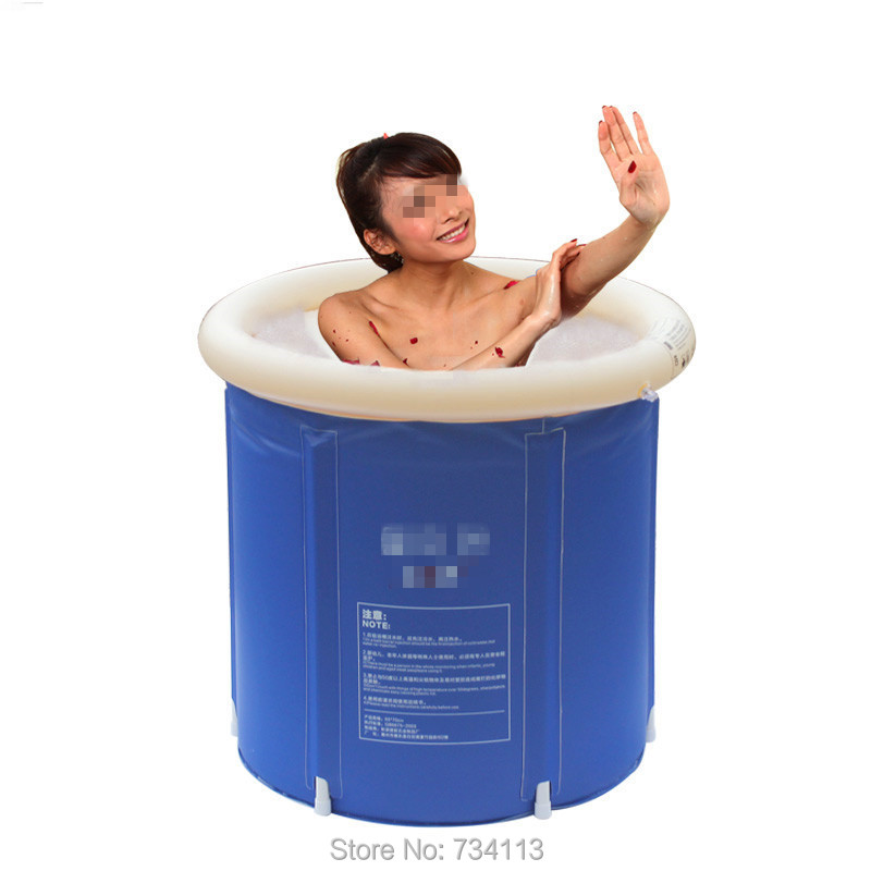 Inflatable bath folding tub SPA bath bucket adult bathtub inflatable bathtub plastic child bath thickening bucket 70 cm * 65 cm