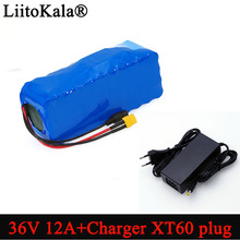 Liitokala Paquete de batería de iones de litio XT60 de alta potencia, 36V, 12Ah, 18650, enchufe de equilibrio para coche, motocicleta, patinete eléctrico BMS + cargador