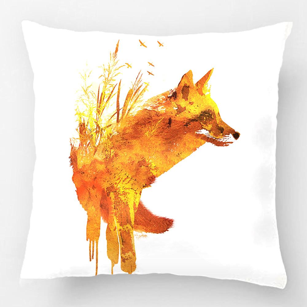 Throw Pillow Case Coj N Decorativo De La Cubierta De Dise O Con El Zorro Rojo Fox