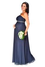 2016 Long Floor Length Navy Blue Empire Chiffon Maternity Bridesmaids Dresses Sweetheart Pregnant Women Wedding Party Dresses