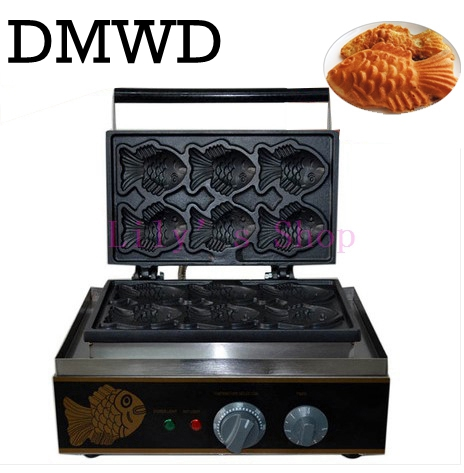 DMWD Open Mouth ice cream taiyaki machine big fish cone maker grain commercial Waffle fish cake snacks device 110V 220V EU US taiyaki maker with ice cream filling taiyaki machine for sale ice cream filling to fish shaped cake fish cake maker
