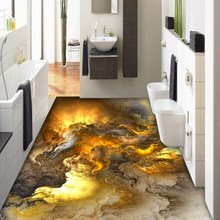 3D suelo papel tapiz personalidad moderna nubes abstractas 3D piso azulejos dormitorio baño PVC Auto adhesivo impermeable 3 D Mural(China)