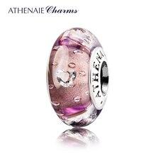 ATHENAIEของแท้ 925 Silver Muranoลูกปัดแก้วCoreความสดชื่นเคลียร์หัวใจCZ CharmsลูกปัดยุโรปCharms 4 สี