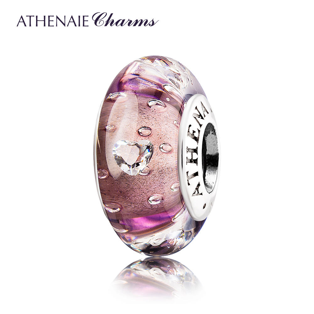 цена ATHENAIE Genuine Murano Glass 925 Silver Core Effervescence Clear Heart CZ Charms Bead Fit European Charms Color Purple