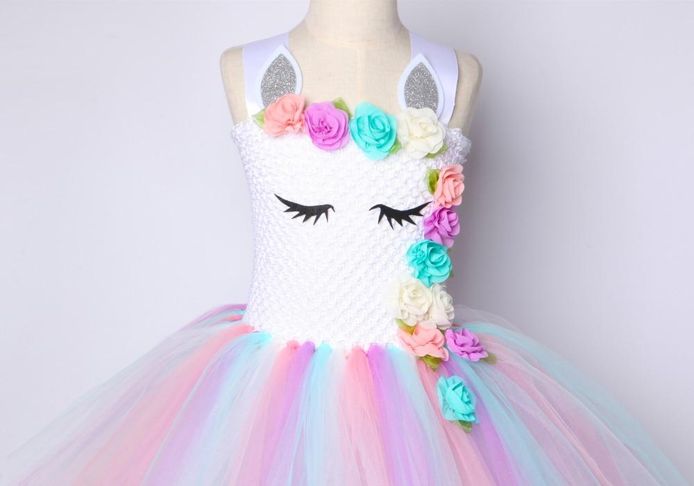 Girls Tutu Dress Pastel Rainbow Unicorn Tutu Tutu Dress for Girls Girls Birthday Dress Flower Girl Lavender Tulle Party Outfit