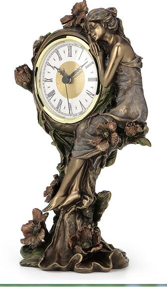 head Arts Crafts deer head The art series cold casting copper process European beauty and the poppy flower quartz clock home ac in Figurines Miniatures from Home Garden