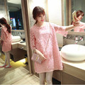 pregnancy clothes maternity dresses summer lace red pink loose plus size zwangerschaps kleding grossesse