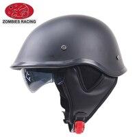 Half Face Motorcycle Helmet Matte Black German Style Vintage Motorcycle Helmet Comfortable Durable with sunglasses