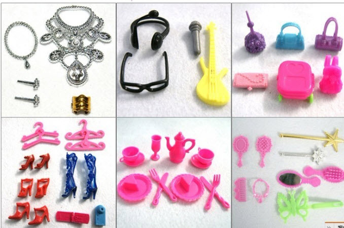 50pcs/set Doll Equipment For Barbie Dollhouse Youngsters Toy Combine Model (Necklace Glasses headbag Footwear  Comb Guitar Case Purse)