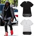 Kanye West Hip Hop Verão Camiseta Breaking Bad Zíper Ouro couro Longo Dos Ganhos Sólidos Cotton Tyga Estendido T-Shirt Magro Tops Tees