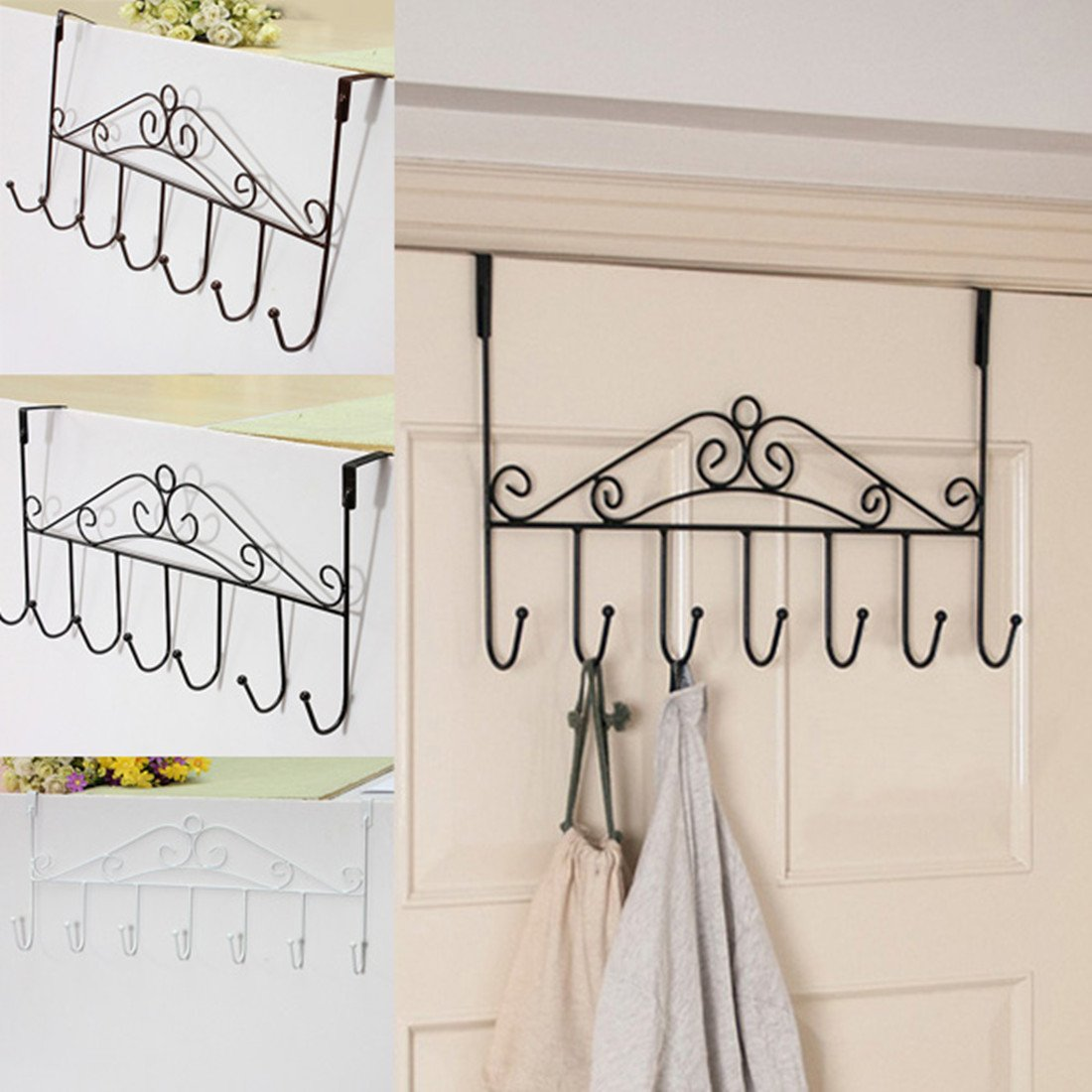EWS 7 Hanger White Towel Hat Coat Clothes Wall Hook Over Door Bathroom fixmee 50pcs white plastic invisible wall mount photo picture frame nail hook hanger
