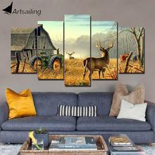 ArtSailing 5 panel wall art on canvas art Deer with Farmer house home decoration accessories modern posters and prints CU-1046B милен фармер mylene farmer 5 on tour 2 cd