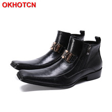 Boots Punk-Shoes Chelsea Black Autumn Toe Ankle Zipper for Men Spring Metal Hoop Winter
