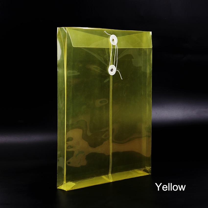 1 шт. модная офисная папка формата А4, сумка с застежкой на кнопках, прозрачная пластиковая папка для файлов, канцелярские принадлежности для офиса - Цвет: Yellow