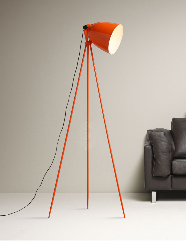 Simple lamps - Nordic Design Floor Lights Orange Tripod Tricycle Work Office Floor Lamp Bedroom Living Room Desk Lamp Study Simple Lamps