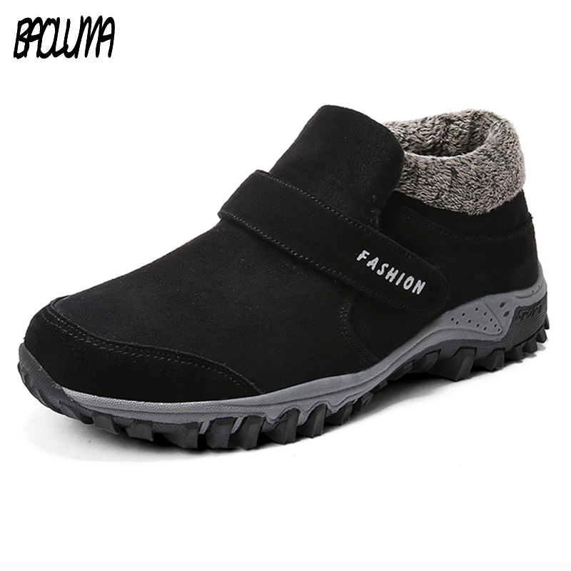Winter Ankle Boots Men Suede Leather Winter Shoes Men Tennis Sneakers Winter Ankle Boots Male Warm Working Casual Botas Hombre plush casual suede shoes boots mens flat with winter comfortable warm men travel shoes patchwork male zapatos hombre sg083