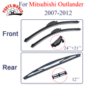 Kit dianteiro e traseiro de borracha de silicone wiper blades para mitsubishi outlander 2007-2012, limpa-pára-brisas acessórios do carro auto partes