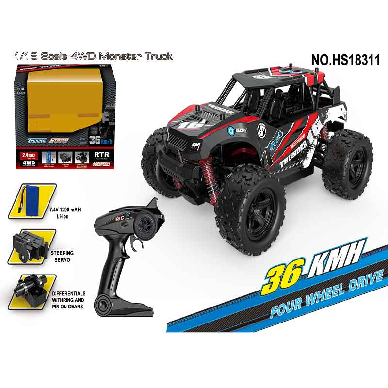 High Speed Monstre Car HS18311-HS18312 RC Off-Road Racing Car 1/18 2.4GHz 4WD 36km/h Truck Buggy RC Car Model RC Toy for Boys new 7 2v 16v 320a high voltage esc brushed speed controller rc car truck buggy boat hot selling