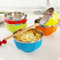Krean Stainless Steel Candy Color Bowl Set 6 Pcs Lot Good PP Material Insulation Eco Friendly