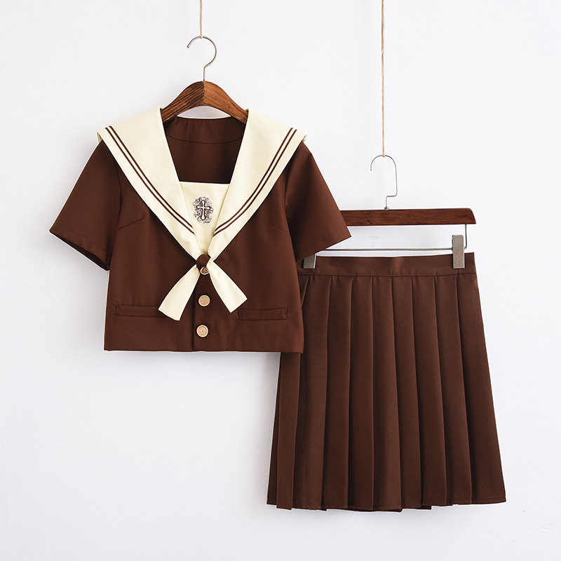 New Fashionable School Uniform British Style School Girls Brown Sailor Shirt Skirt Sets Costume Cosplay Clothing