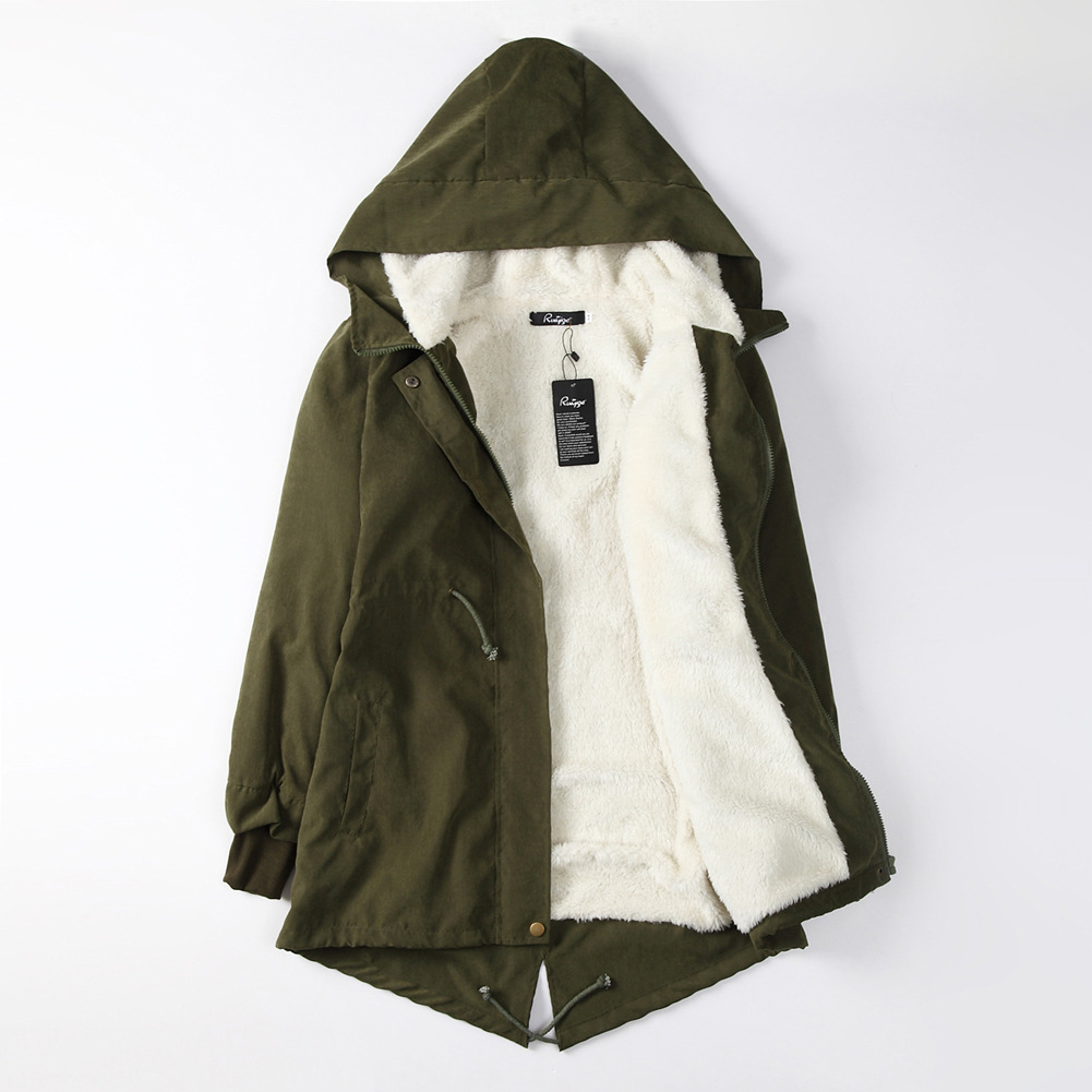 women   parkas   pockets 2018 winter coats korean style autumn warm solid zipper jackets hooded female long sleeve   parka   green