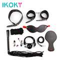 IKOKY 8-Pcs/Set Handcuffs Gag Nipple Clamps Whip Collar Erotic Toy Leather Fetish Sex Bondage Restraint Sex Toy for Couples