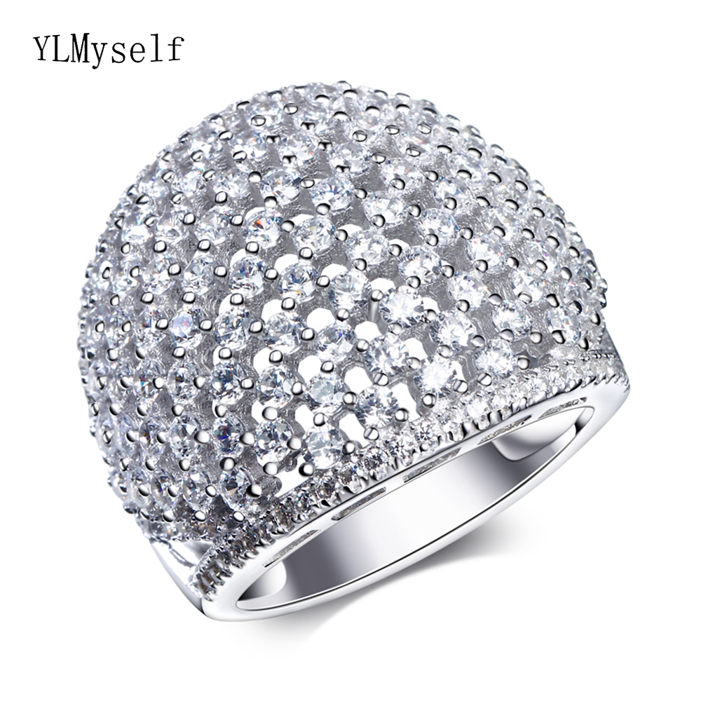 Luxury large 925 rings jewelry anniversary party fine jewellery CZ Beautiful fast shipping big sterling silver