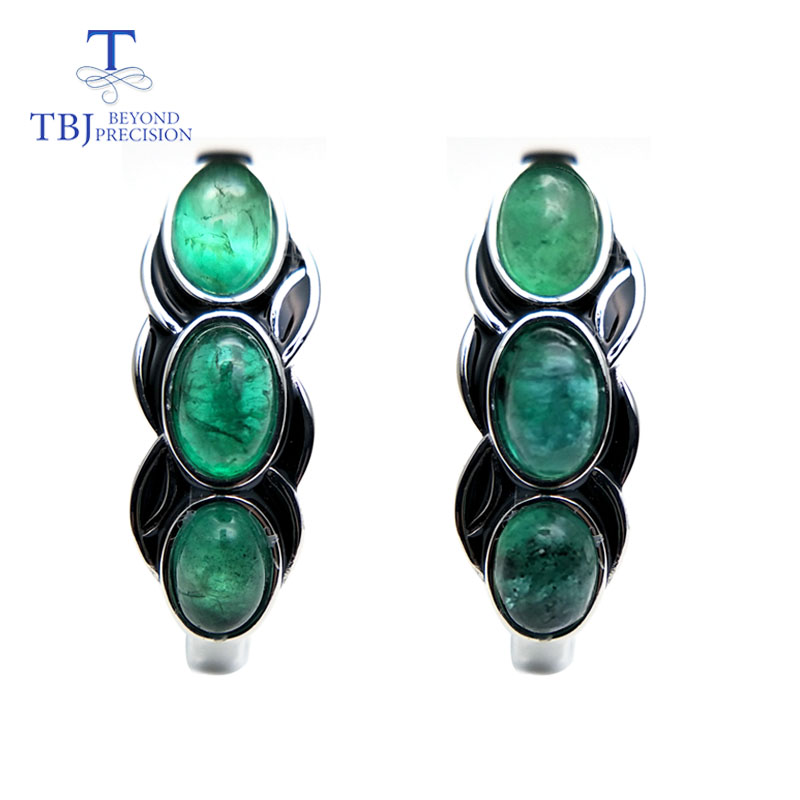 TBJ vintage style good clasp earring with natural emerald gemstone in 925 sterling silver design for