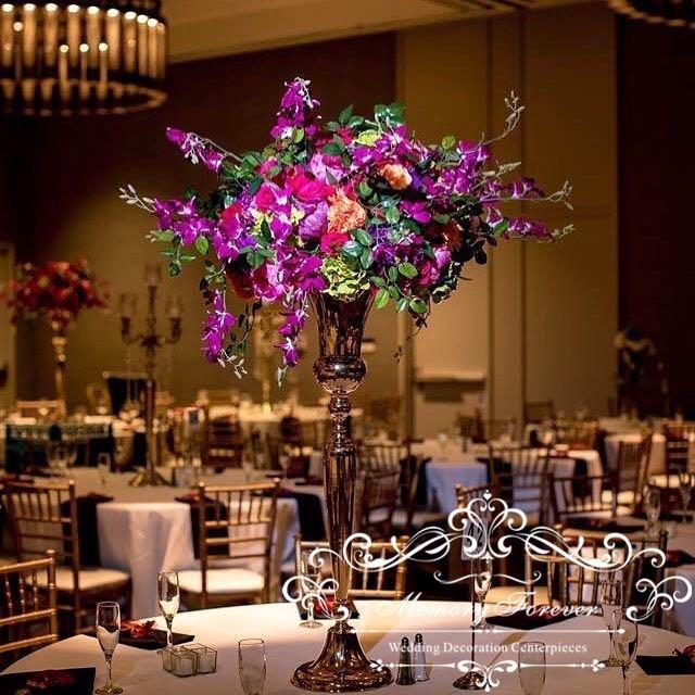 Wholesale Vase For Centerpiece Wedding Decoration Gold Trumpet