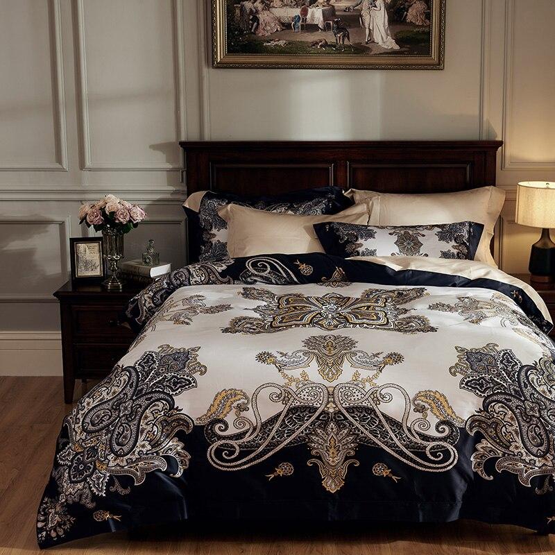 100 s Coton Égyptien Luxe Bohême Literie Soyeuse parure De lit toute Douce Reine King size housse de couette drap de Lit/ parure de Taies D'oreiller