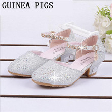 Spring and Autumn Summer Crystal Girls Sandals Children high heel Shoes With Bows For Kid  Sandals High-heeled Shoes GUINEA PIGS