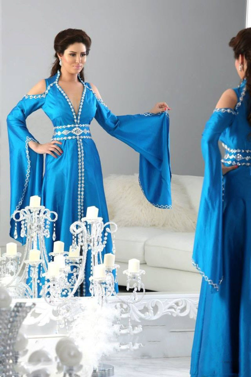 2016 Muslim Evening Dresses A line Deep V neck Blue Crystals Long Sleeve font b Islamic