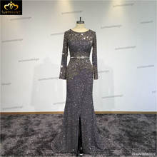 Real Photos Tulle Crystal Luxury Beading Customized Party Occasion Formal Long Evening Dress SW16080602