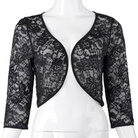 Womens Jacket Autumn Lace Bolero 3/4 Sleeve Elegan ...