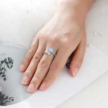 925 Sterling Silver Created Round Blue Opal Rings for Women