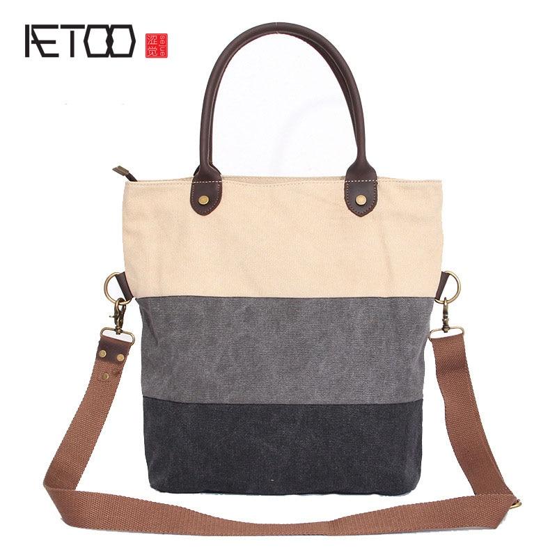 AETOO New canvas shoulder bag frenzy shoulder strap womens handbag