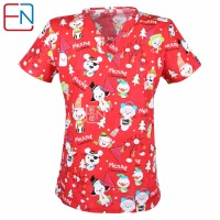 5 DESIGNS IN Hennar Brand Medical Scrub Tops Surgical Scrubs Scrub Uniform 100 Print Cotton Christmas