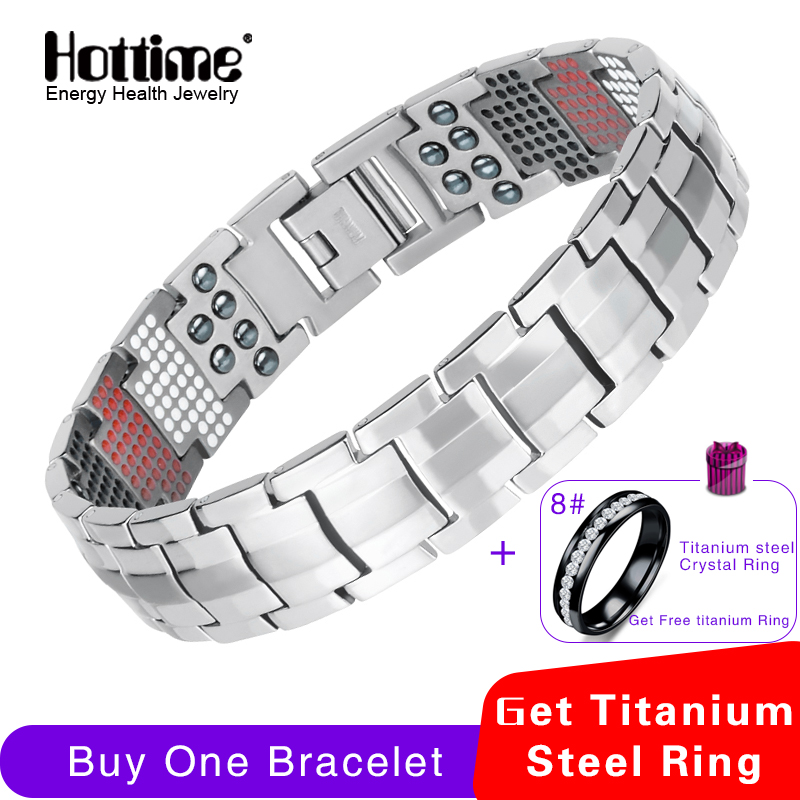 цена Hottime Men Jewelry Healing magnetic Bangle Balance Health Bracelet Silver Pure Titanium Bracelets Special Design for Male 10212
