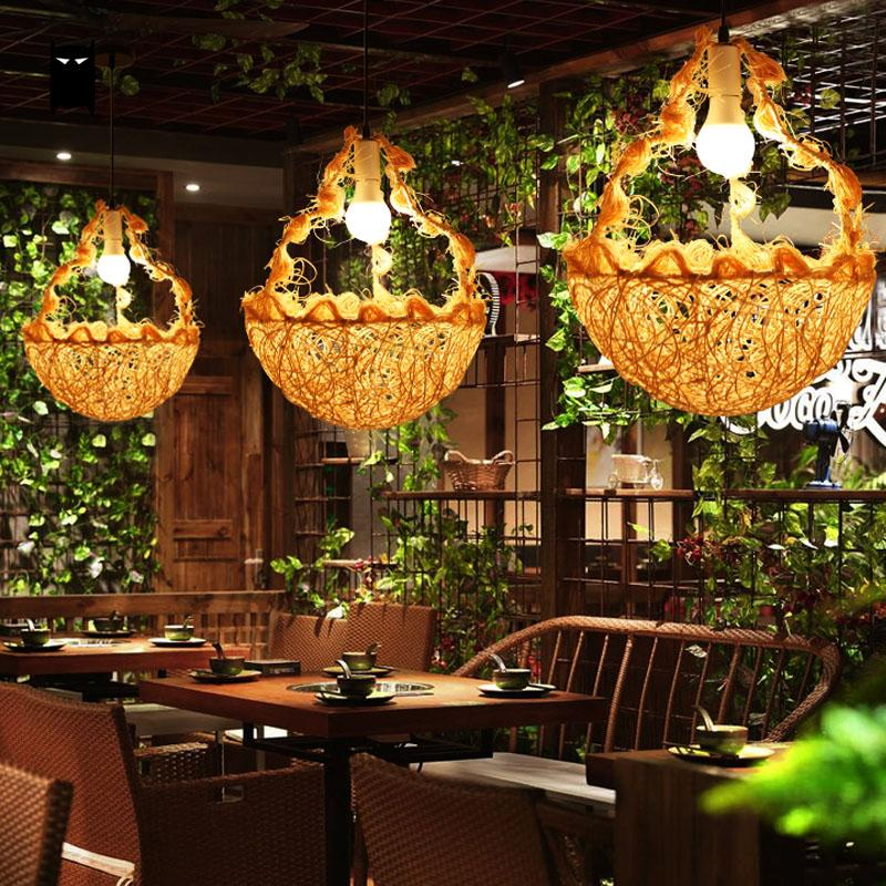 Wicker Rattan Flower Basket Shade Pendant Light Fixture Rustic Romantic Art Ceiling Lamp Plafon Dining Table Room Restaurant E27 цены