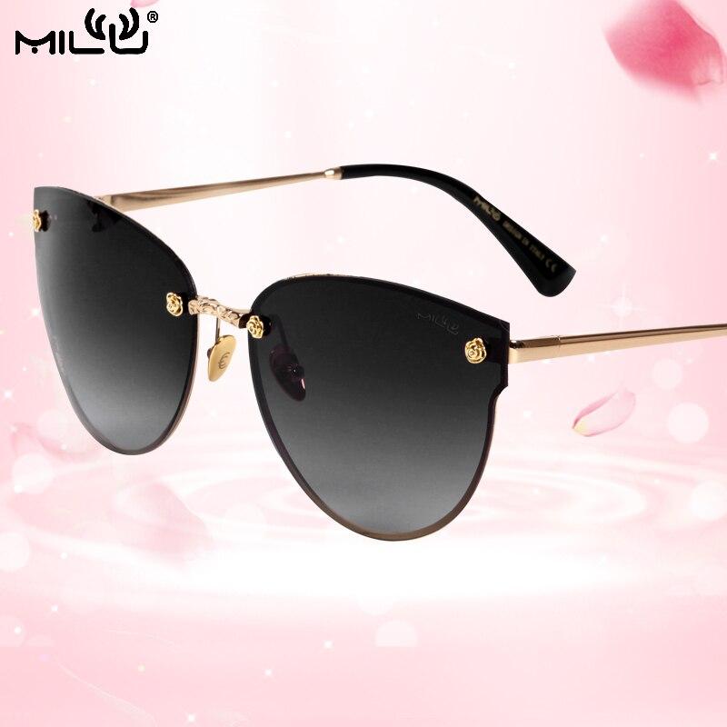 Милу Элитный бренд логотип дизайнера Солнцезащитные очки для женщин Для женщин Зеркало Polaroid без оправы кошачий Средства ухода для век Очки ... ...