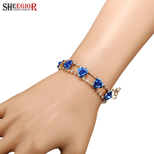 SHEEGIOR New Fashion Jewelry Trendy Blue Flower Charm Bracelets & Bangles Rhinestone Gold color Chains Bracelet Femme for Women
