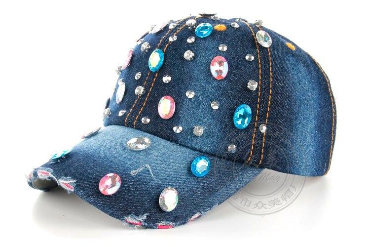 Высокое качество оптом и в розницу JoyMay шляпа Кепки Мода Досуг Стразы винтажные джинсы хлопок джинсовые кепки Бейсбол Кепки B225 - Цвет: color no 5