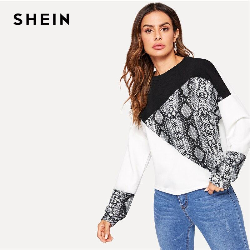 SHEIN Color Block Snake Skin Sweatshirt Preppy Round Neck Women's Shein Collection