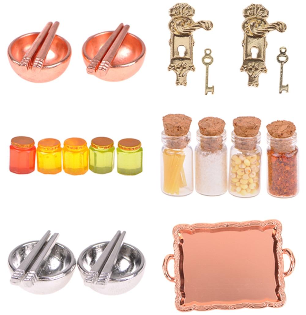 Newest Door Lock And Key/White Ladder/Honey Pot/Tableware/Perfume/Food Bottle/ Dollhouse DIY Accessories 1/12 Scale Miniature