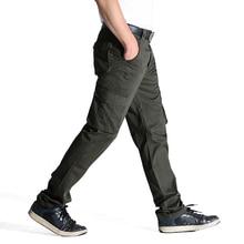 2017 лето-осень Повседневное Для мужчин Классические Брюки Карго 100% хлопок сплошной карман длинный мужской Мотобрюки 2 цвета Стиль Размеры 31-44