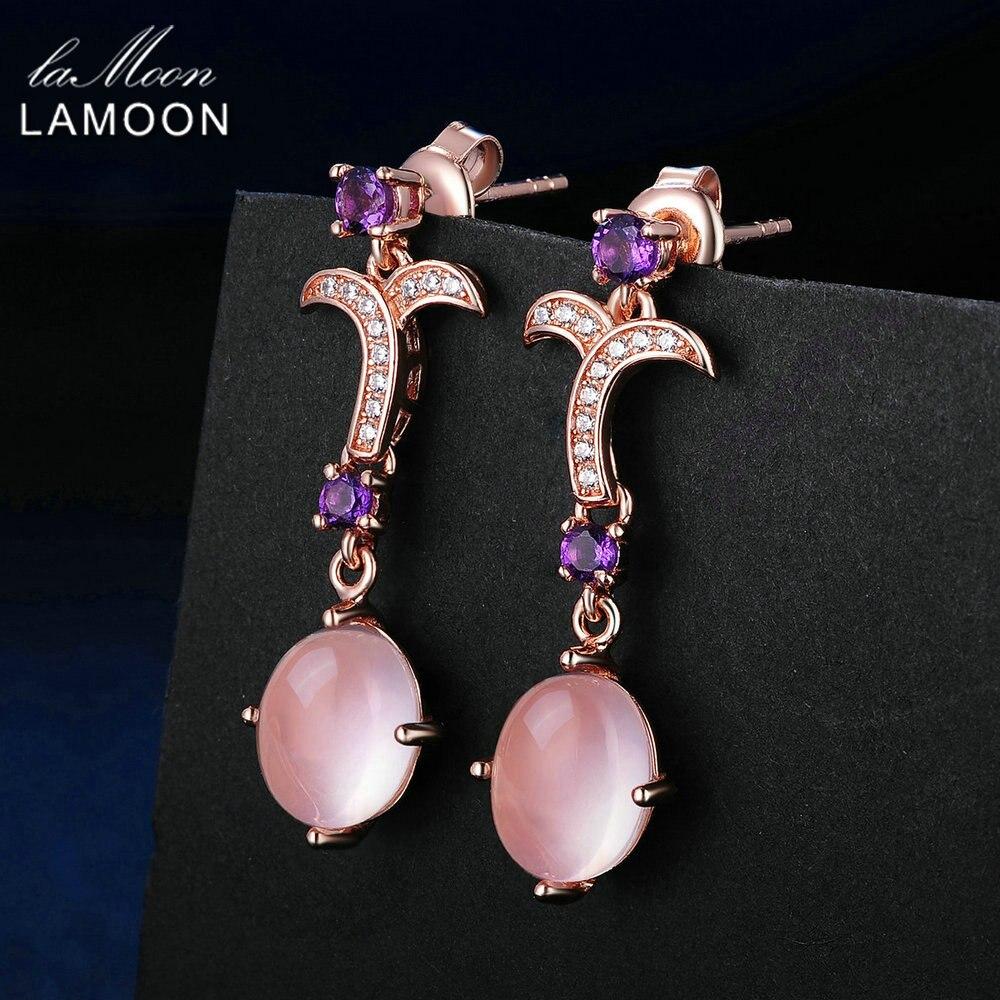 LAMOON Droppörhängen 7X9mm Naturliga ovala växter Pink Rose Quartz - Fina smycken