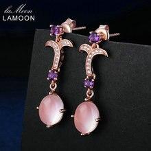 LAMOON Drop Earrings 7X9mm Natural Oval Plants Pink Rose Quartz Fashion Long Earring 925 Sterling Silver Fine Jewelry Sieraden