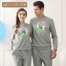 Qianxiu Pajama Sets For Men Woman Knitted underwear men European Home Couple Plus size suit 1614