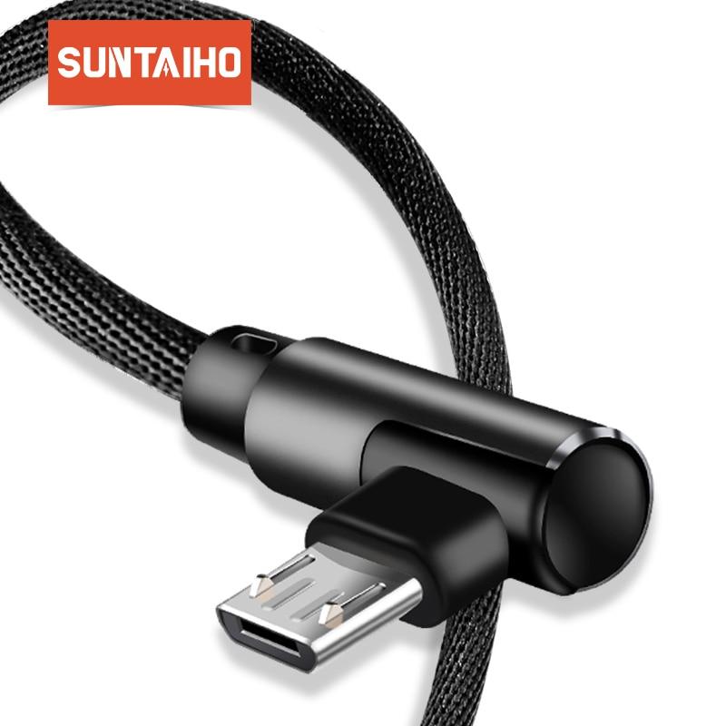 Micro USB кабель 2A быстро Зарядное устройство кабель USB шнур Suntaiho 90 градусов локоть нейлон плетеный кабель для передачи данных для samsung/sony /Xiaomi те...