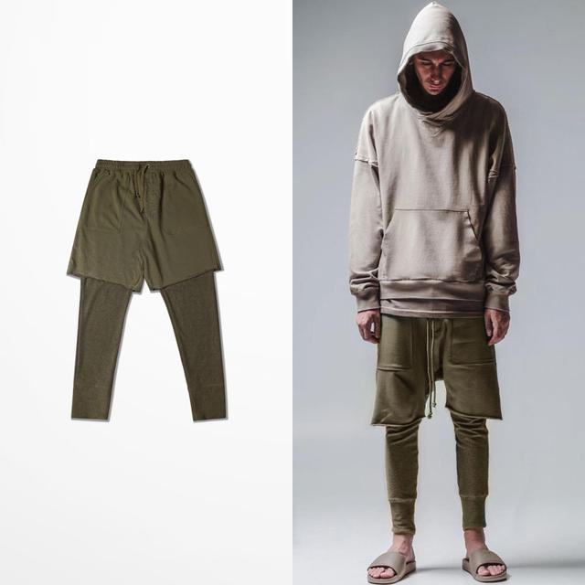 Verde Militar llanura Hombres falso de dos piezas Hombre Pantalones de Chándal Harem Moda High Street Vintage Hombre Compresión Corredores S-XXXL